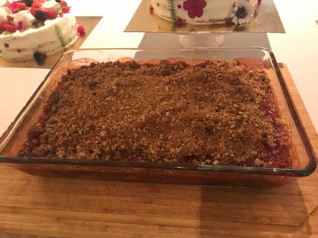 Close-up of rhubarb and strawberry crisp.